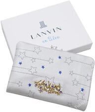 LANVIN en Bleu Japan Matt Silver Goat Leather Bifold Wallet w/Gold Metalware-NIB