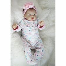 "Real Newborn 22"" Handmade Lifelike Baby Doll Reborn Silicone Vinyl Clothes Body"