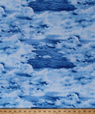 Landscape Waves Water Ocean Lake Nature Blue Cotton Fabric Print BTY D691.12