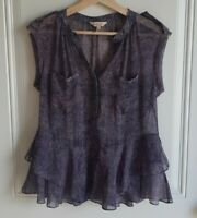Rebecca Taylor Womens Sheer Silk Purple Dewberry Static Peplum Blouse Top Size 4