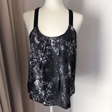 COUNTRY ROAD Sz S 8 Black 100% Silk Top Sleeveless Tank Cami T-Back AS NEW