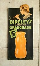 Rare Vintage c. 1930's Bireley's California Orangeade Cardboard Easel Soda Sign