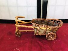 """Collectible Wicker Tricycle With Basket 8 1/2"""" Long"""