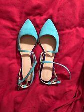 Zara Ladies Flat Sandals 7/ EU 40 Leather - Turquoise Colour