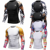 Men's Compression Tops Dri fit Long Sleeve Tights Under Base Layer Gym T-shirts