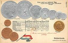 NETHERLANDS SILVER GOLD COINS FLAG TABLE RATE EMBOSSED PATRIOTIC POSTCARD 1910