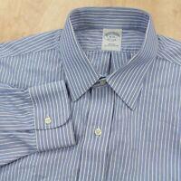 Brooks Brothers slim fit supima cotton non-iron dress shirt 16 - 34 blue stripes