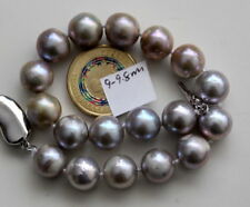 "gorgeous 11-12mm south sea silver grey pearl bracelet 7.5-8""925s"
