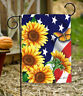 Toland American Sunflowers 12.5 x 18 Patriotic Flower Butterfly USA Garden Flag