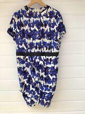 ASOS Plus Size Purple & White Floral Short Sleeve Tulip Hem Dress - Size 18