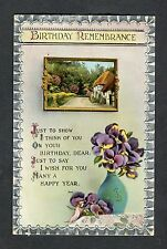 Posted 1923 Illustrated Birthday Card: Hatched Cottage & Flowers in Vase