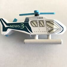 Wood & Wheels Wooden Vehicles Helicopter News Chopper Ages 3 Plus Blue