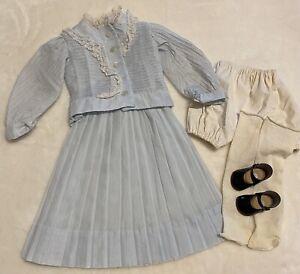 "Doll Dress Vintage for French German Bisque Dolls Blue Blouse Skirt Fits 27"""
