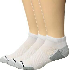 New Balance Unisex 179435 Poly Low Cut 3-Pair White/Grey Size L