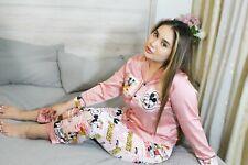 Size L Cartoon Printing Satin Lady Homewear/ Cute Pajama Mickey Sleepwear Set