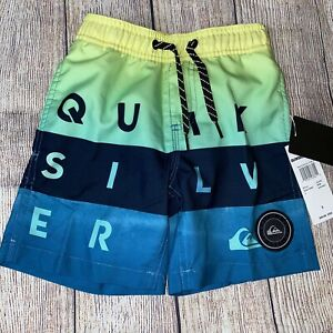 Quiksilver 3 5 6 7Surf Swim Trunks Shorts Teal Yellow NEW Functional Drawstring