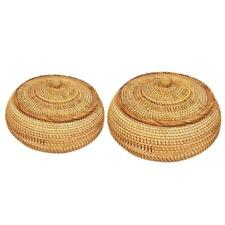 Natural Handmade Rattans Weaving Round Storage Basket with Cover Fruit Dish