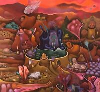 OHANA LARGE SURREAL MODERNIST LANDSCAPE WITH FIGURES COLORFUL LITHOGRAPH PRINT