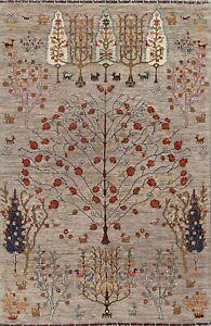 Vegetable Dye Geometric Oriental Ziegler Area Rug Hand-knotted Tribal Carpet 6x8