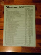 YORK BARBELL COMPANY Gym Equipment products ORIGINAL Price List (4 pages) 2-85