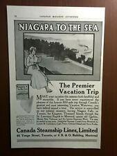 SCARCE 1916 CANADA STEAMSHIP LINES NIAGARA TO THE SEA VACATION TRIP ORIGINAL AD