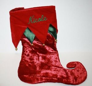 "NICOLE Monogram Red Green Velvet Christmas Stocking 17"" Gold Balls Curled Toe"