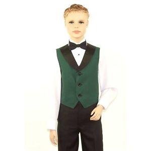 Kids Hunter Green Full Back Tuxedo Vest with Black Lapel
