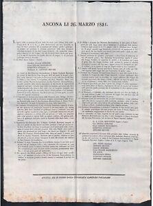 Moti 1831-Importante bando dove gli insorti si consegnano al cardinale Benvenuti