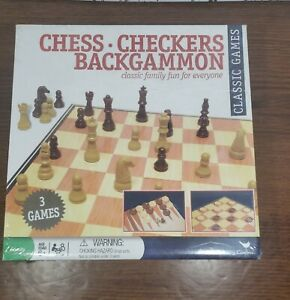 Chess Checkers & Backgammon Game Set New