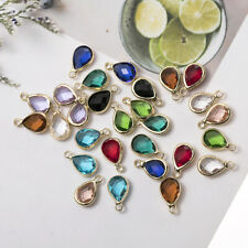 10pcs Teardrop Crystal Glass Charm Pendant For Earrings Necklace Jewelry Making