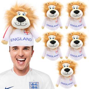 ENGLAND LION HAT FOOTBALL EURO 2021 SPORTS FANCY DRESS ST GEORGE NOVELTY LOT