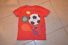 Mini Boden Boys 7 - 8 Y S/S  Soccer Sports applique top - Red