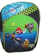 "Backpack 16"" Multi-Compartment Wii Super Mariokart Motorcycle Green NWT"