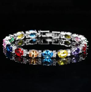 Multi Gemstone Rainbow 925 Sterling Silver with Cubic Zircon Tennis Bracelet