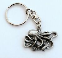 Octopus Key-ring (keychain) in Fine English Pewter, Handmade in UK (H), Keyring