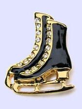 Black & Gold Skating Boots Lapel Pin - Sparkling Rhinestones - Gift Boxed
