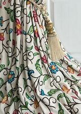"""NEW Lined Crewel Work Curtains 100""""w 98""""d Wool on Linen Embroidered 2 PAIRS AV."""