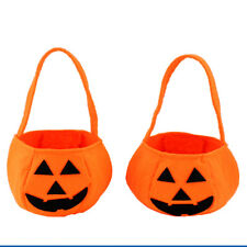Happy Pumpkin Children' Trick Treat Candy Bag Halloween Decor Party Fun Bucket