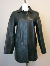 Womens COACH Dark Green Leather Hidden Button Front Coat Jacket Size Small