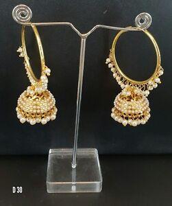 Indian Kundan Jewelry Bollywood Earrings Jhumka Latest Traditional Ethnic ES3-