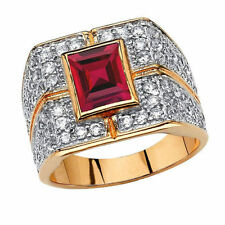 925 Sterling Silver Natural Faceted Ruby & Topaz Ring For Man Size 8 9 10 11