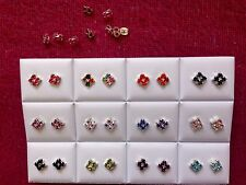 JOBLOT-12 pairs of coloured square diamonte stud earrings.Silver plated.UK made.