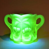 Mosser Glass Cherry and Cable Vaseline Uranium Sugar Bowl