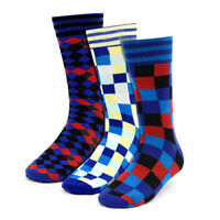 Terraty Men's 3 Pack Bold Colorful Checker Box Dress Casual Socks Size 9-12
