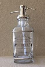 BELLA LUX APOTHECARY GLASS LIQUID SOAP PUMP DISPENSER WITH SILVER ACCENTS