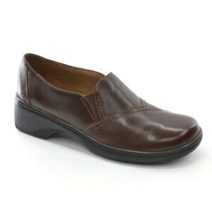 Womens Clarks Glenwood Comfort Loafer 8 M Brown Leather Round Toe Slip On Shoes