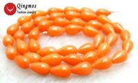 5*9mm Drop Orange Natural Coral Beads for Jewelry Making DIY Necklace Strand 15""