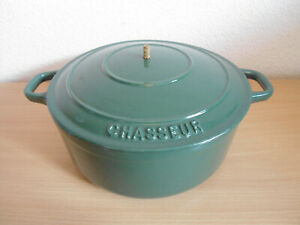 Green Chasseur Cast Iron Casserole Dish Pot Pan With Lid 22cm - Missing Handle
