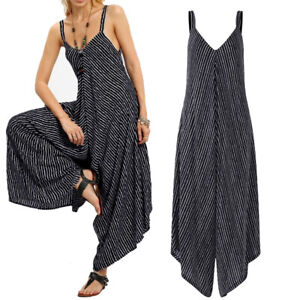 Womens Summer Boho Jumpsuit Pants V Back Overalls Sleeveless Playsuit Plus Size