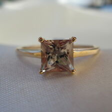 1.27ct Genuine Turkish Diaspore Square 10k Gold Solitaire Engagement Ring